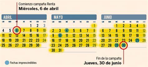 calendario y fechas clave de la declaracin de la renta en el 2016 fechas para declaracion de renta de 2016