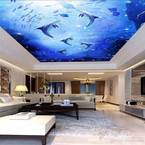 custom  photo mural watercolor style blue sea underwater