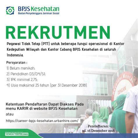 lowongan kerja bpjs kesehatan ptt  wilayah sulawesi
