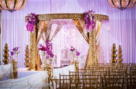 purple and gold decorations suhaag garden florida wedding decorators indian wedding
