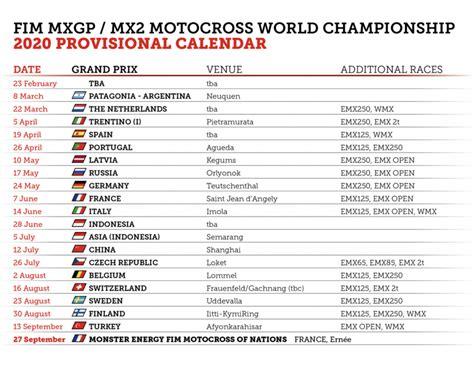 fim motocross world championship provisional calendar