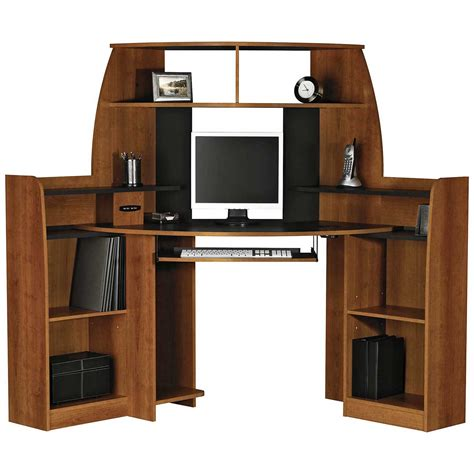 corner computer desk with double storage furniture
