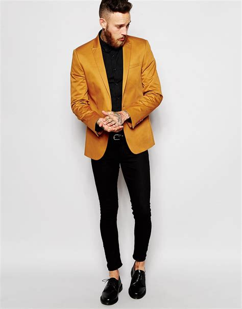 Asos Blazer In Cotton lyst asos blazer in cotton in yellow for