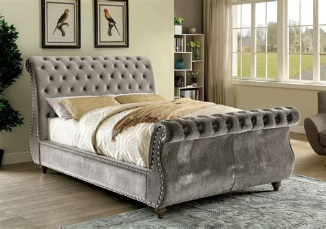 In Bed by Noella Cm7128gy Bed In Gray Fabric Upholstery