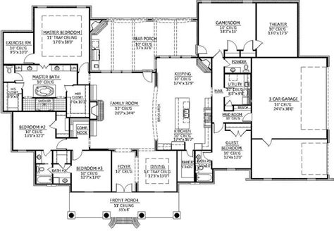 southern style floor plans southern style house plans 4078 square foot home 1 story 4 bedroom and 3 3 bath 3 garage