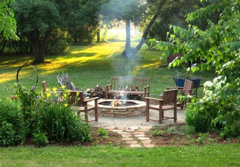 backyard with fire pit landscaping ideas fire pit diy rustic landscape milwaukee by erin