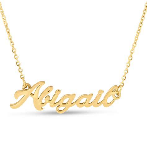 abigail nameplate necklace in gold superjeweler