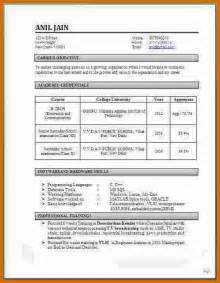 Model Resume Format For Freshers 4 Model Resume For Freshers Notice Template