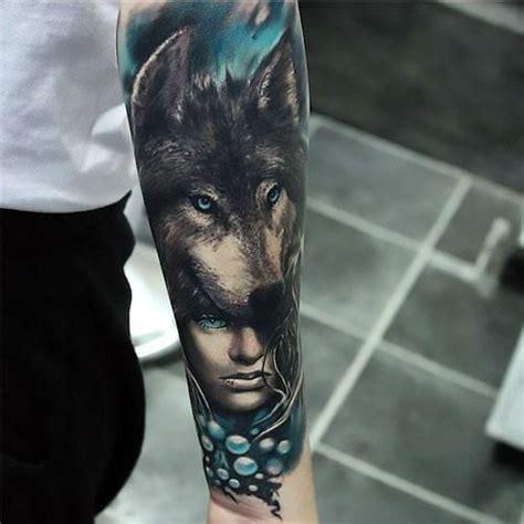 wolf tattoo history blue realistic wolf and girl tattoo idea