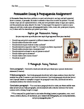 6 Paragraph Persuasive Essay Rubric by 5 Paragraph Persuasive Essay Propaganda Assignment With Rubric
