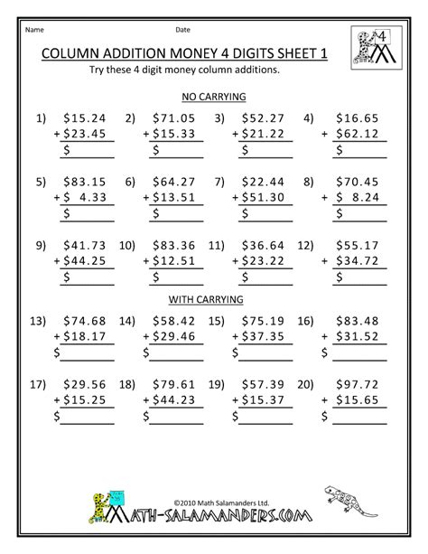 Printable 5th Grade Math Worksheets by Free Printable Math Worksheets 4th Grade