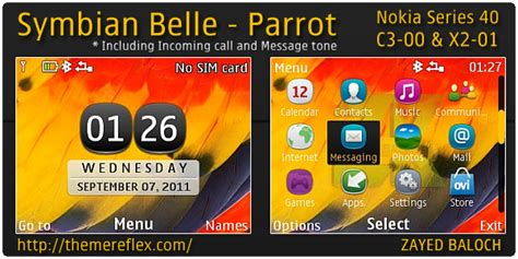 hot themes for symbian symbian belle parrot theme for nokia c3 x2 01 themereflex