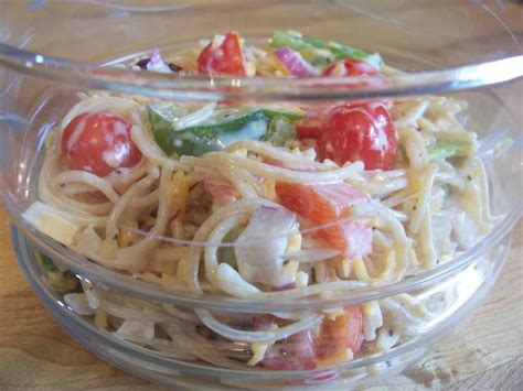 pasta salad with spaghetti noodles spaghetti pasta salad w lemon poppy seed dressing