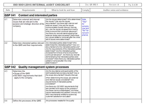 process audit checklist template