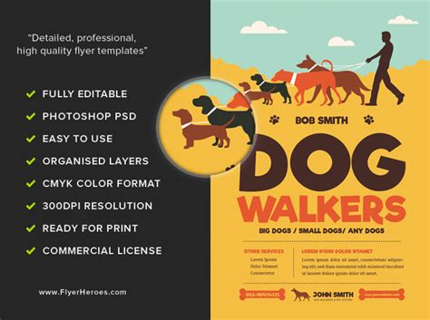 Dog Walkers Flyer Template Flyerheroes Walking Business Flyer Template