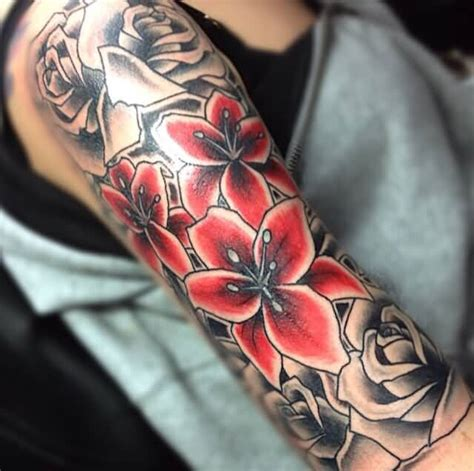 lily sleeve tattoo designs 34 flowers tattoos on arm