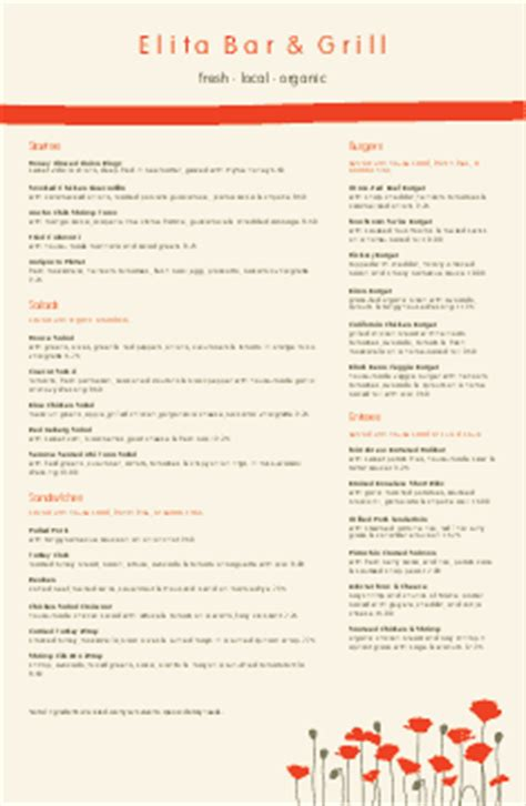 bar and grill menu templates musthavemenus 75 found