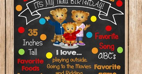 Richie Sent Out Invitations by Daniel Tiger Chalkboard Birthday Sign By Chalkyourway On