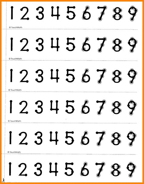 printable touch math number line touchpoint math worksheets ars eloquentiae touchpoint