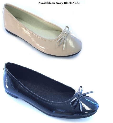 navy patent flat shoes womens black navy patent flat ballerina pumps