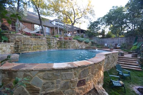 Built In Bathroom Vanities Dallas Steep Hillside Pool Amp Spa Rustic Pool Dallas
