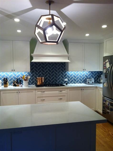 Kitchen Island Ideas With Seating Blue Herringbone Backsplash Contemporary Kitchen