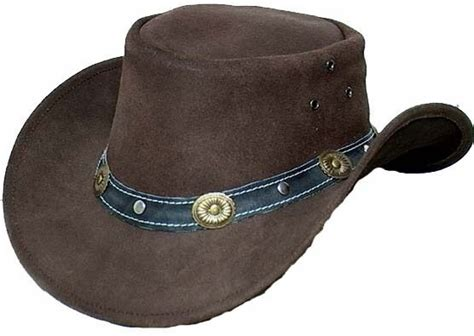 Cowhide Cowboy Hats - genuine cowhide leather western cowboy hat brown with