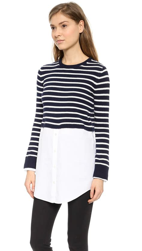 Sweater Button Navy 1 Theory Cashcotton Rymalia S Button Sweater Navy