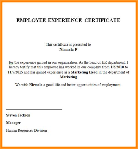 certification letter from previous employer 11 experience letter sle from employer pandora