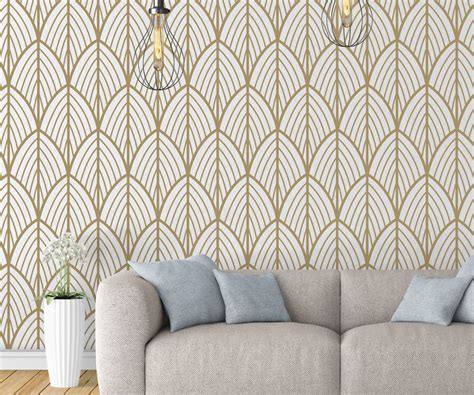 removable wallpaper art deco leaves removable wallpaper moonwallstickers com