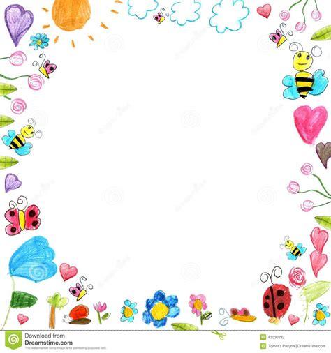 Lukisan Doodle A4 Colour Tidak Background Frame meadow frame child scribbles drawings background isolated cornici bordi e pergamene