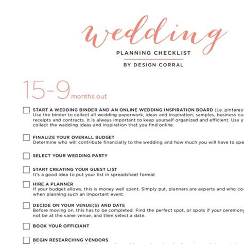New Printable Wedding Timeline Checklist Wedding Checklist Template Pdf