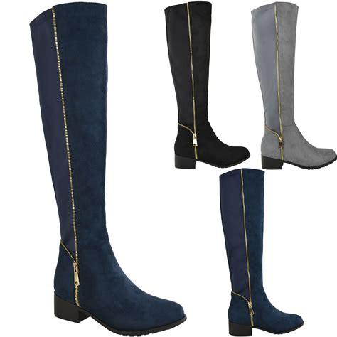 womens knee high boots winter flat wide leg