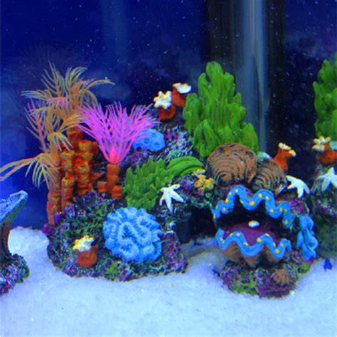 Saltwater Aquarium Decorations by Resin Sucker Mounted Coral Reef Fish Tank Cave Decor