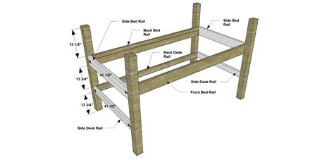 bunk bed with desk plans twin size loft bed plans free quick woodworking projects