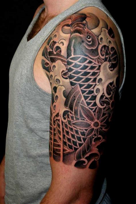 black fish tattoo black koi fish design