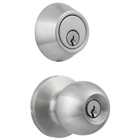 Deadbolt With Knob by Universal Hardware Standard Duty Commercial Satin Chrome