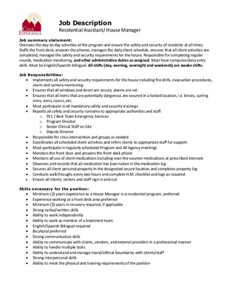 Casa Esperanza Inc House Manager Job Description