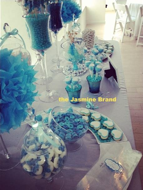 rose themed baby shower amber rose s girlfriends throw a blue themed baby shower
