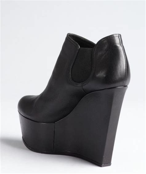 casadei black leather platform wedge chelsea ankle boots