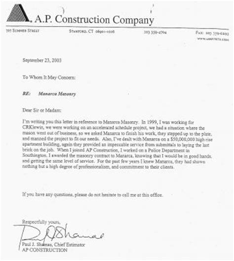 Letter Of Credit Construction Contract Contractor Reference Letter Template Letter Template 2017
