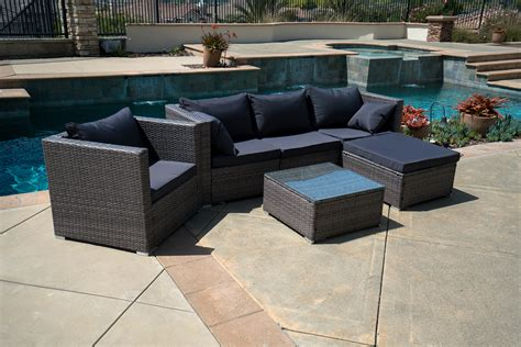 6pc outdoor patio furniture rattan wicker sectional sofa