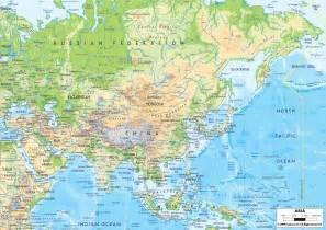 South East Asia Physical Map by Physical Map Of Asia Ezilon Maps