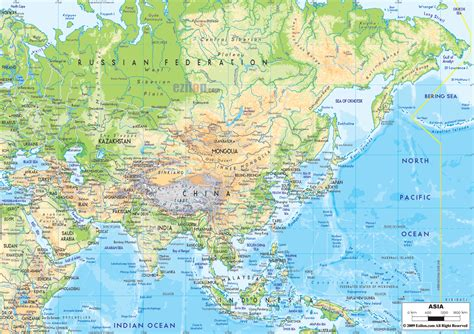 geographical map of physical map of asia ezilon maps