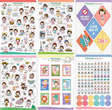 buku sticker karakter perlengkapan stationery dengan design yang unik dan keren