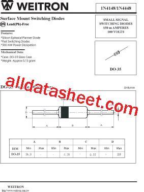 4148 diode pdf 1n4148 데이터시트 pdf weitron technology