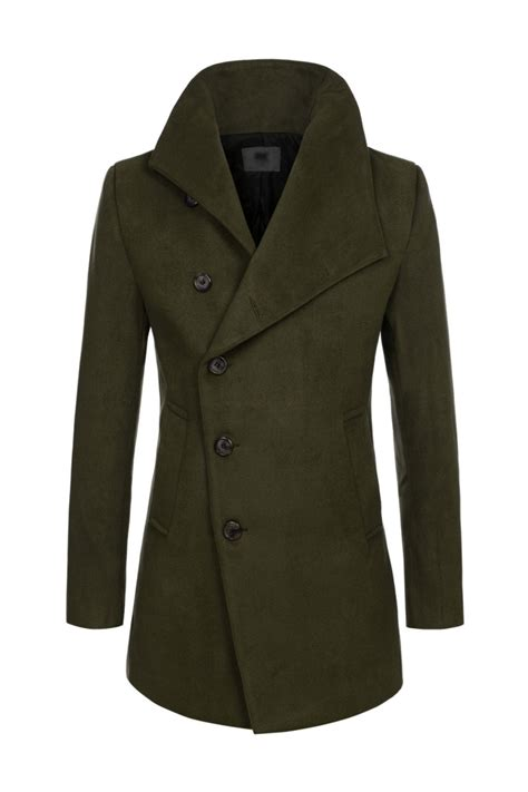Single Breasted Wool Blend Coat khaki green mens asymmetric single breasted wool blend pea