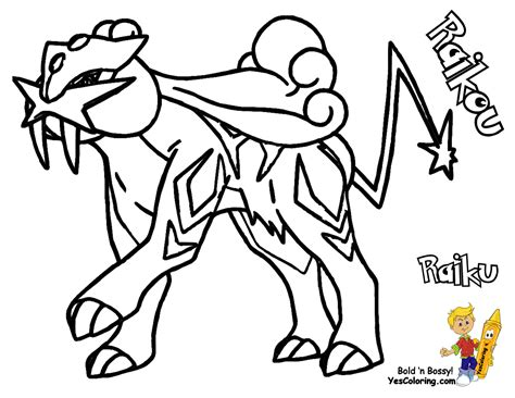 Pokemon Coloring Pages Raikou | free klurplaat entei coloring pages