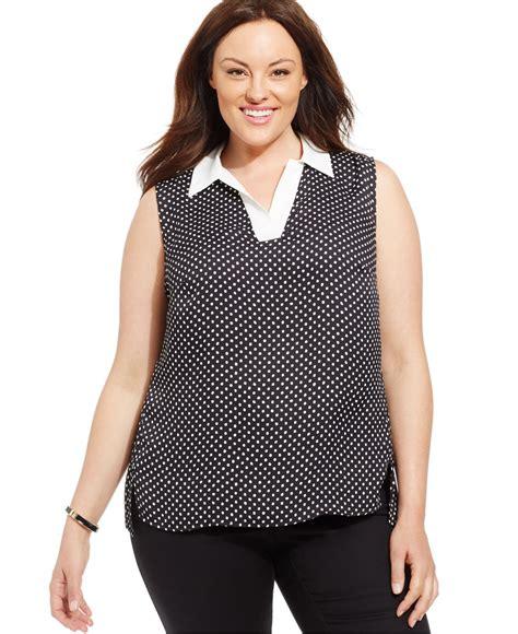 Dmj New York Blouse jones new york collection plus size sleeveless polka dot blouse in black lyst