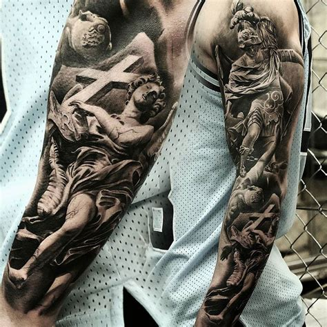 st michael sleeve tattoo designs st michael bernini statue